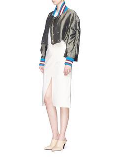 Esteban CortazarSport stripe padded satin bomber jacket