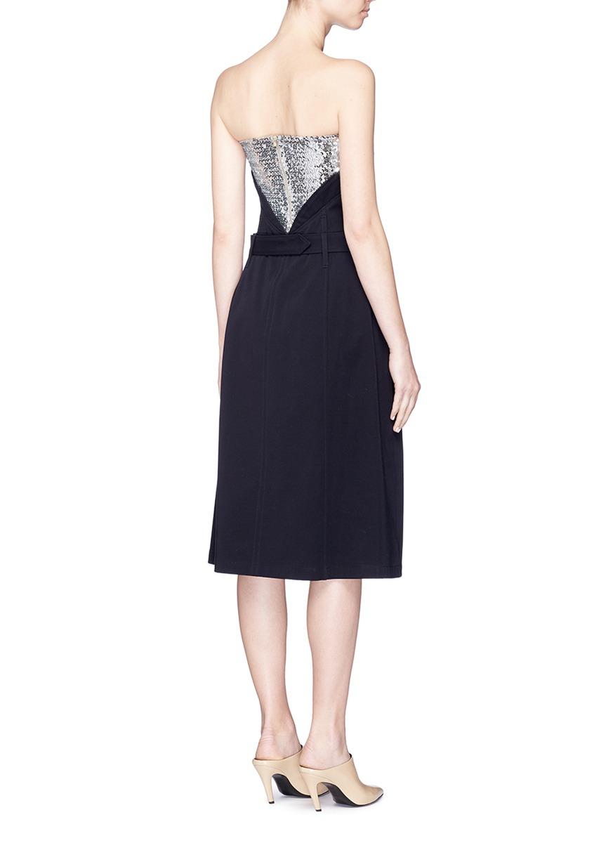 ESTEBAN CORTAZAR Sequin Top Belted Bustier Dress