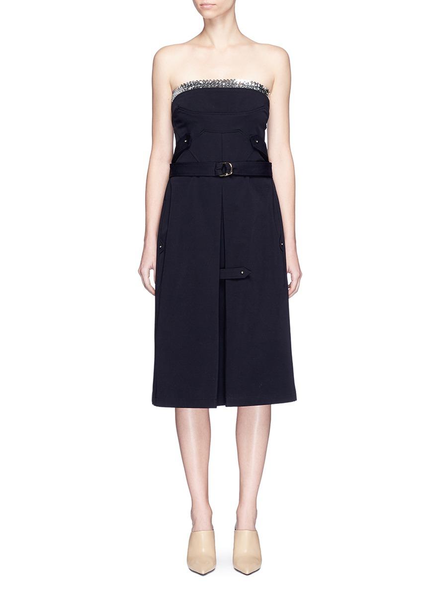 Sequin top belted bustier dress by Esteban Cortazar