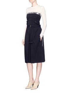 Esteban CortazarSequin top belted bustier dress
