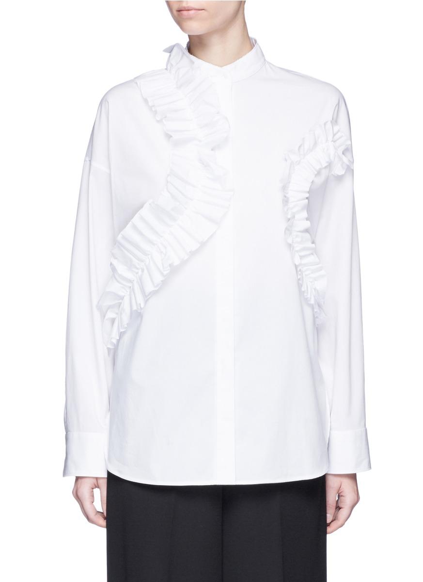 Ruffle trim cotton poplin shirt by Cédric Charlier