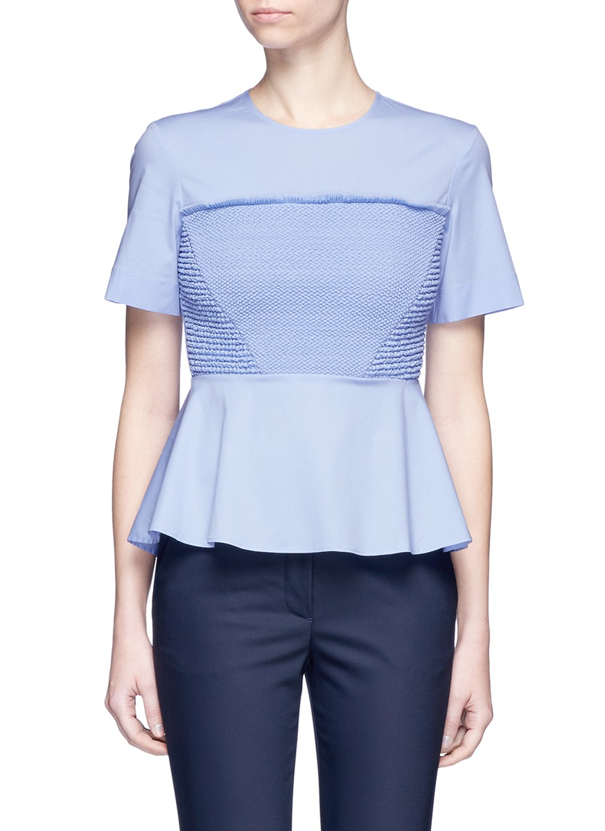 Smocked cotton blend poplin blouse by Cédric Charlier