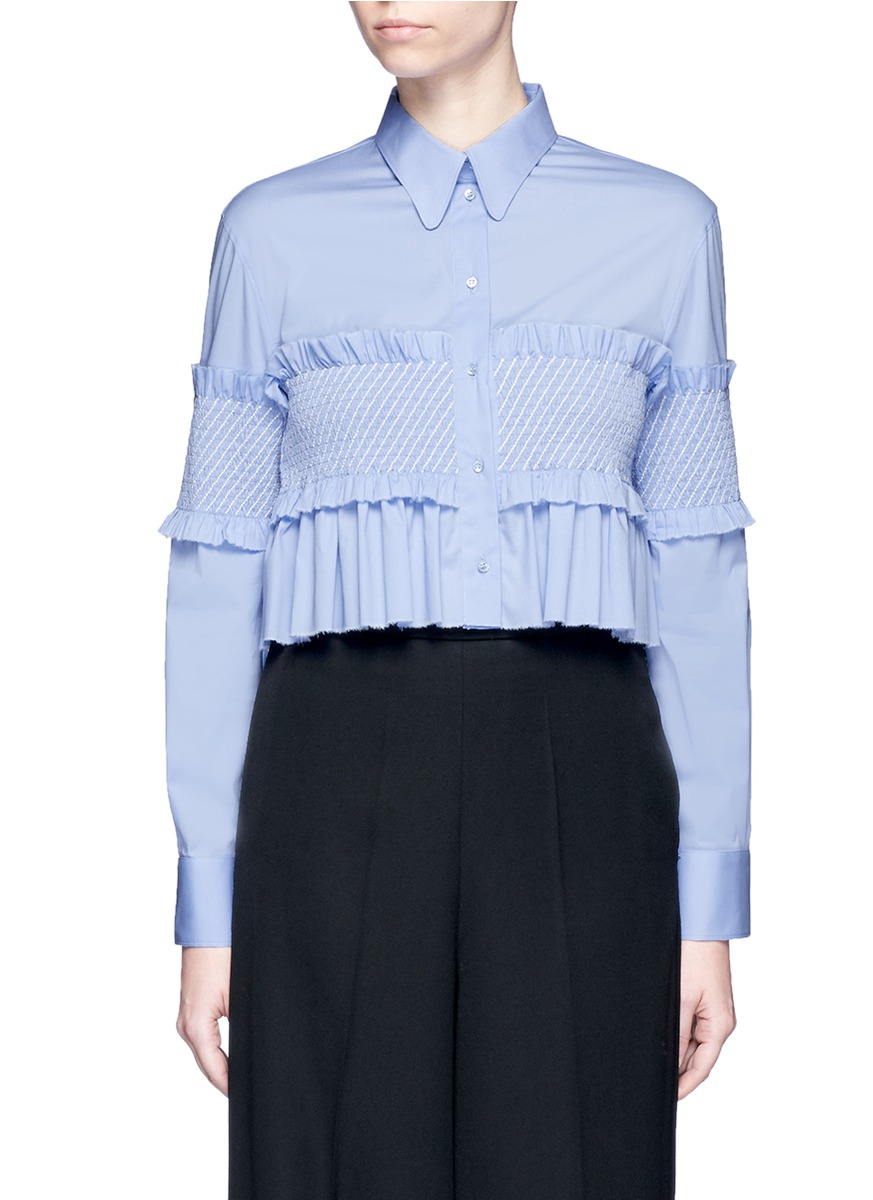 Smocked bandeau panel poplin shirt by Cédric Charlier