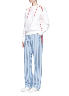 FACETASMLace-up cotton fleece unisex sweatshirt