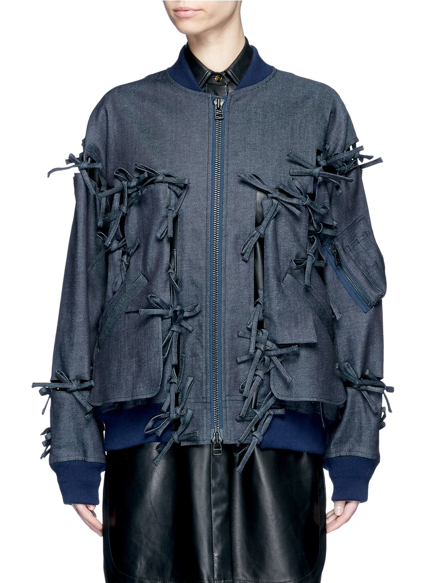 Ribbon cutout denim bomber jacket by FACETASM