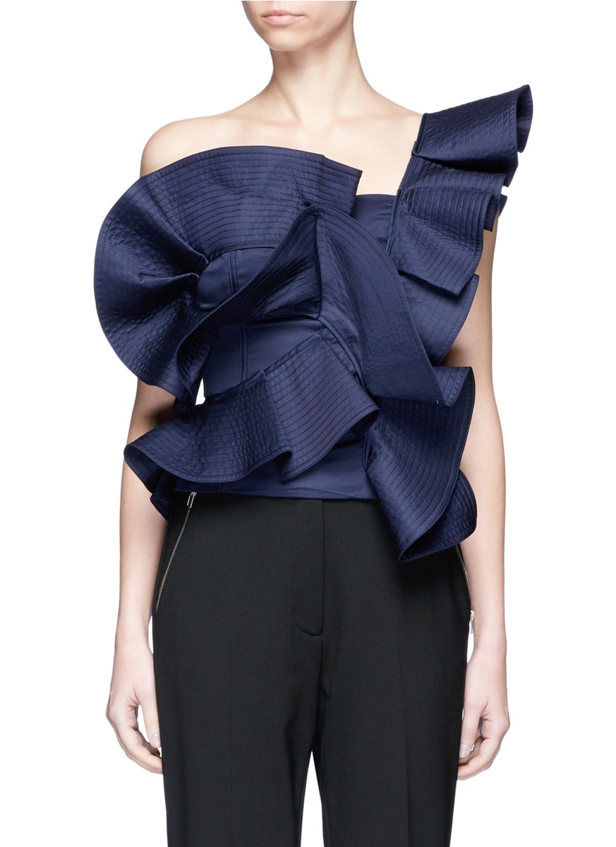 Dama Danzante ruffle one-shoulder top by Johanna Ortiz