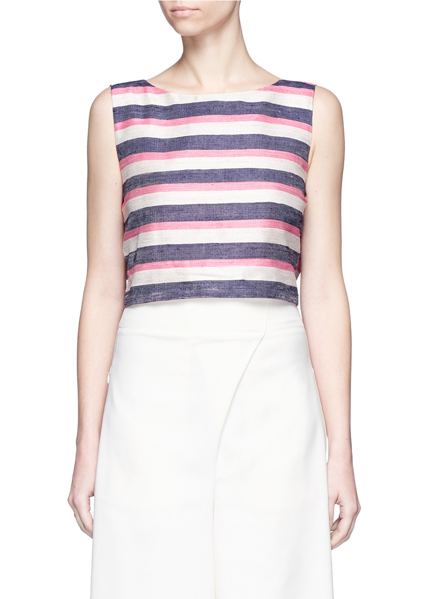 Vizcaya stripe bow back silk shantung top by Johanna Ortiz