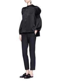 CoSmocked balloon sleeve satin blouse