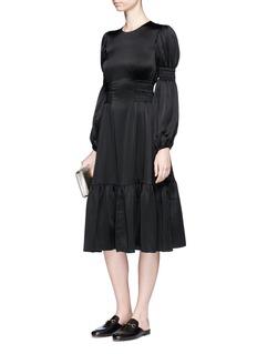 CoBalloon sleeve smocked satin dress
