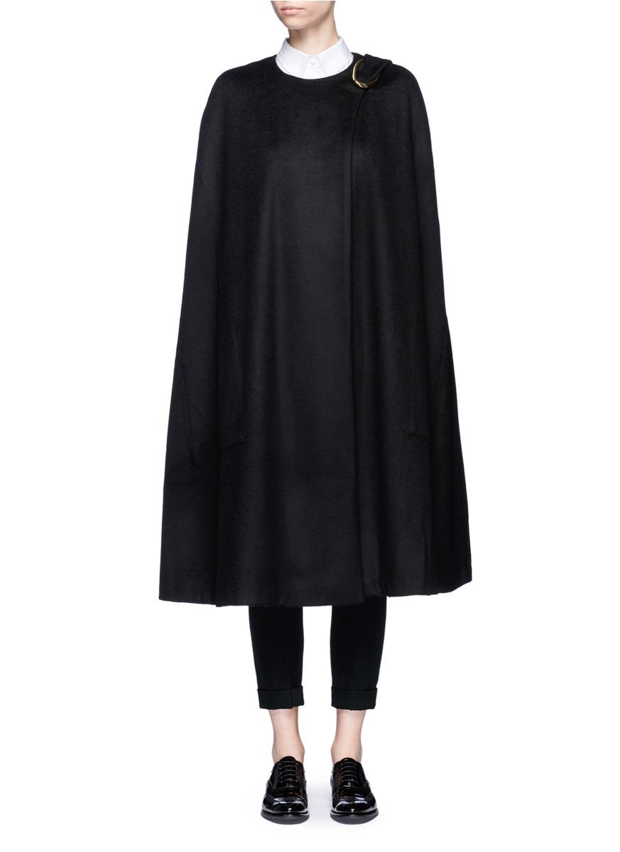 Oversized buckle virgin wool cape by Co