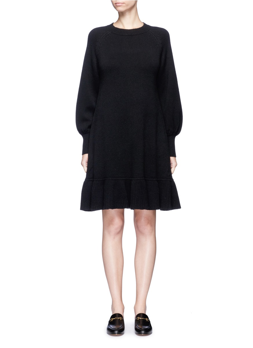 Bishop sleeve wool-cashmere knit dress by Co