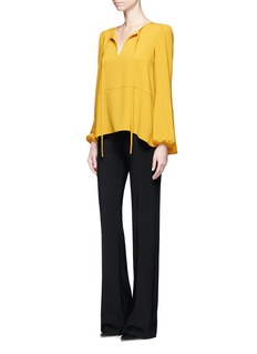 CoKeyhole front crepe blouse