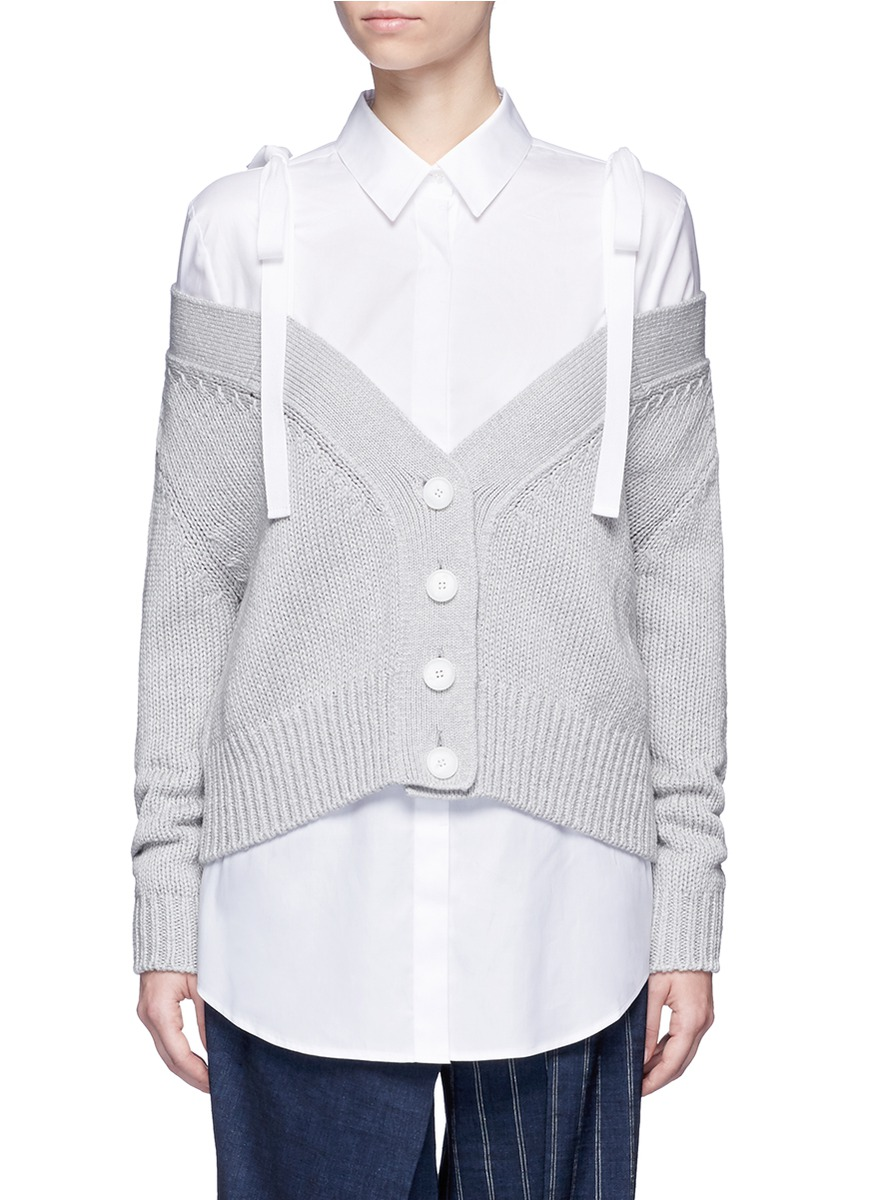 Off-shoulder cotton-cashmere chunky knit cardigan by ADEAM