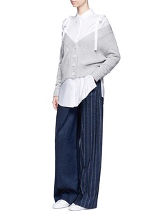 ADEAMOff-shoulder cotton-cashmere chunky knit cardigan