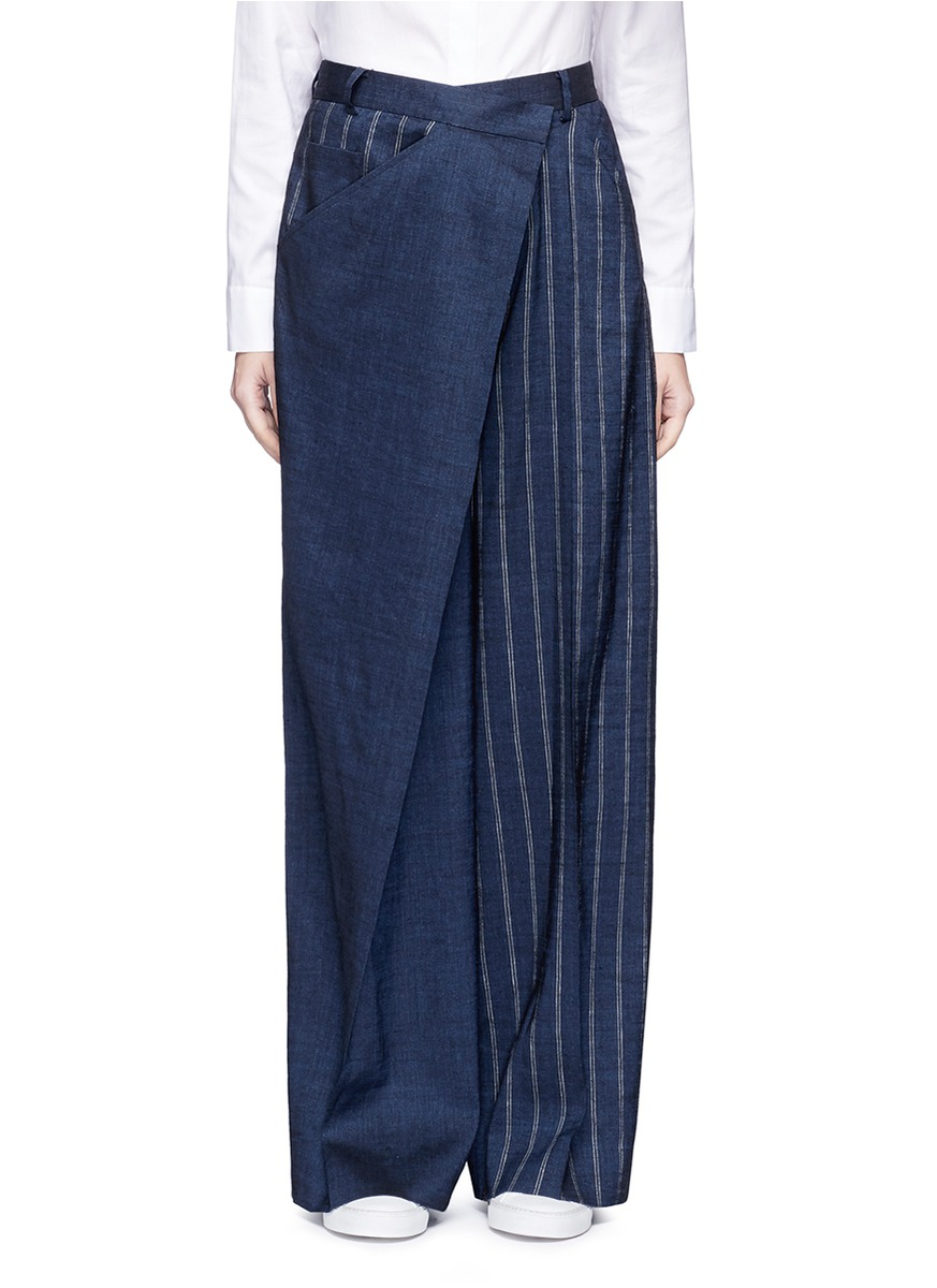 Deconstructed stripe wide leg linen blend pants by ADEAM
