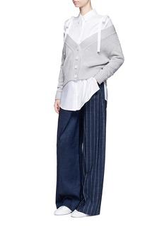 ADEAMDeconstructed stripe wide leg linen blend pants