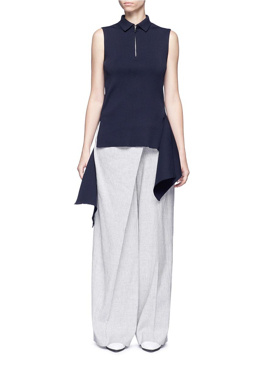 Asymmetric drape front rib knit top by ADEAM