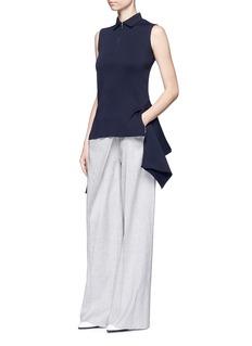 ADEAMAsymmetric drape front rib knit top