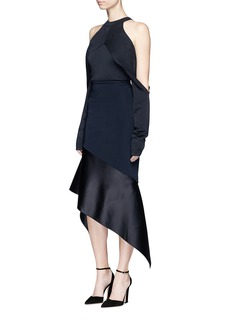 Dion Lee Satin asymmetric hem powerstretch trapeze skirt