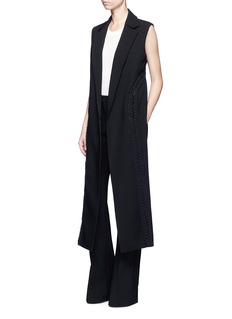 Dion LeeCoil laced wool canvas high-low vest
