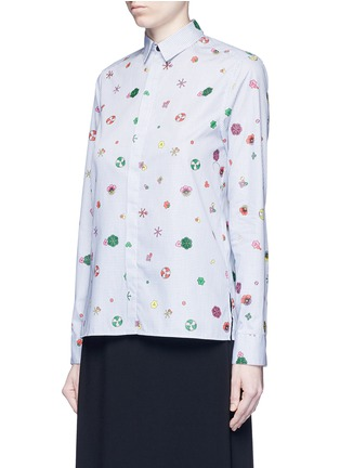 Front View - Click To Enlarge - KENZO - Tanami flower print check poplin shirt