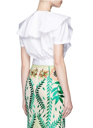 Back View - Click To Enlarge - Temperley London - Ruffle tie front cotton poplin cropped top