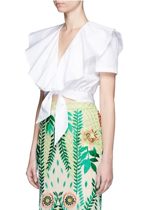 Front View - Click To Enlarge - Temperley London - Ruffle tie front cotton poplin cropped top