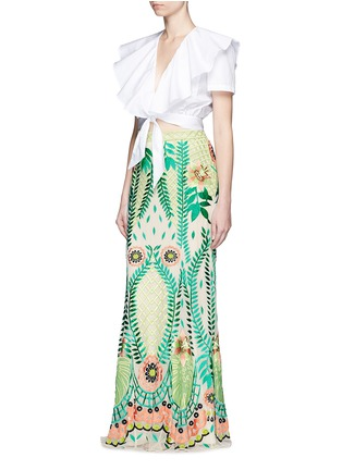 Figure View - Click To Enlarge - Temperley London - Ruffle tie front cotton poplin cropped top