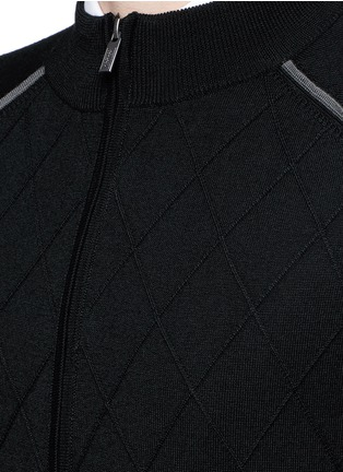 Detail View - Click To Enlarge - Armani Collezioni - Diamond motif wool zip cardigan