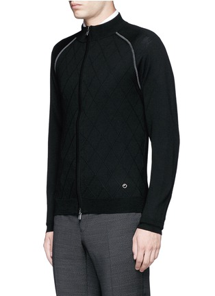 Front View - Click To Enlarge - Armani Collezioni - Diamond motif wool zip cardigan