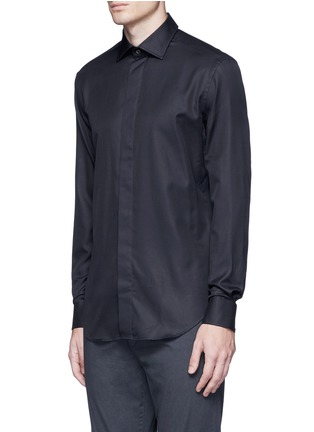 Front View - Click To Enlarge - Armani Collezioni - Slim fit cotton-silk tuxedo shirt