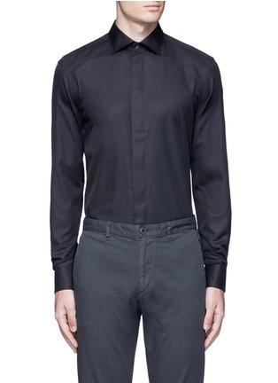 Main View - Click To Enlarge - Armani Collezioni - Slim fit cotton-silk tuxedo shirt