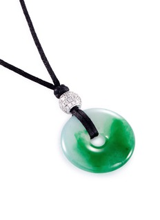 LC COLLECTION JADE Diamond jade 18k gold pendant cord necklace