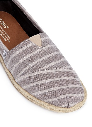 Detail View - Click To Enlarge -  - Classic metallic stripe canvas espadrille slip-ons