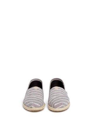 Front View - Click To Enlarge -  - Classic metallic stripe canvas espadrille slip-ons