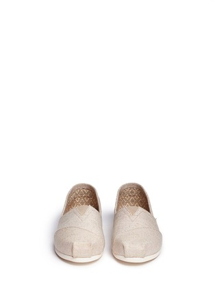 Front View - Click To Enlarge -  - Classic metallic burlap slip-ons