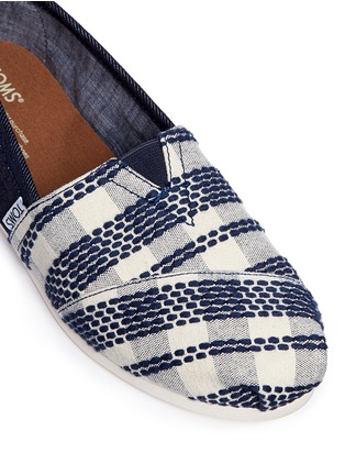 Detail View - Click To Enlarge -  - Classic stripe canvas denim combo slip-ons