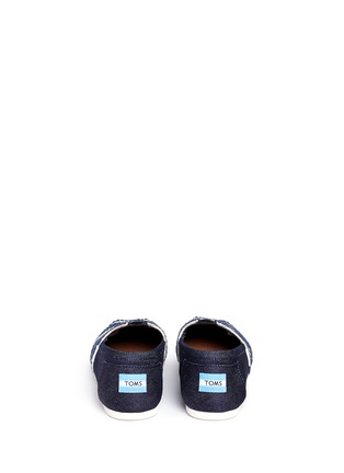 Back View - Click To Enlarge -  - Classic stripe canvas denim combo slip-ons