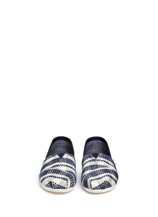 Front View - Click To Enlarge -  - Classic stripe canvas denim combo slip-ons