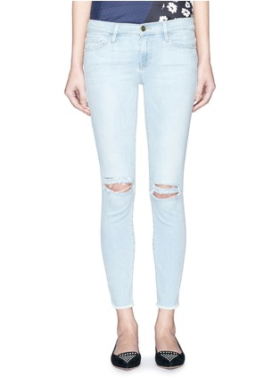 Detail View - Click To Enlarge - Frame Denim - 'Le Skinny de Jeanne' distressed knee jeans
