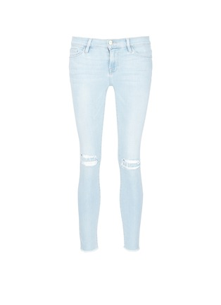 Main View - Click To Enlarge - Frame Denim - 'Le Skinny de Jeanne' distressed knee jeans