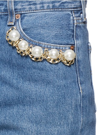 Detail View - Click To Enlarge - Forte Couture - 'Longuette Le Bon' faux pearl chain distressed skirt