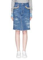 'Longuette Le Bon' faux pearl chain distressed skirt