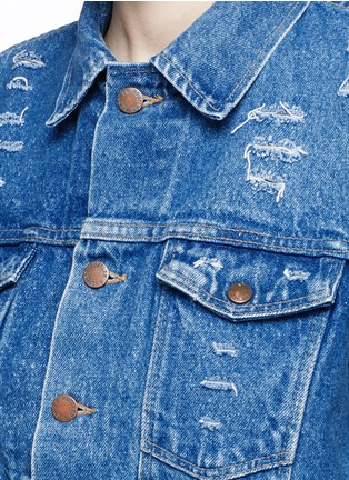 Detail View - Click To Enlarge - Forte Couture - 'AZA' hand embroidery back distressed denim jacket