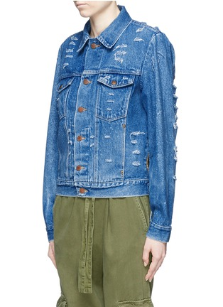 Front View - Click To Enlarge - Forte Couture - 'AZA' hand embroidery back distressed denim jacket