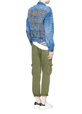 Figure View - Click To Enlarge - Forte Couture - 'AZA' hand embroidery back distressed denim jacket
