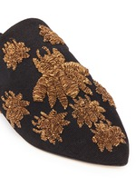 'Ragno' metallic floral embroidery canvas slippers