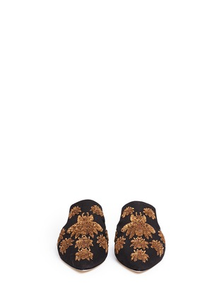 Front View - Click To Enlarge - SANAYI 313 - 'Ragno' metallic floral embroidery canvas slippers