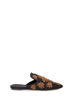 SANAYI 313-'Ragno' metallic floral embroidery canvas slippers