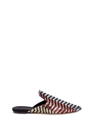 Main View - Click To Enlarge - SANAYI 313 - 'Disco' chevron stripe metallic raffia slippers